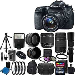 Canon EOS 70D 20.2 MP Digital SLR Camera Kit Bundle with Lens, Stand and Accessories (16 Items)