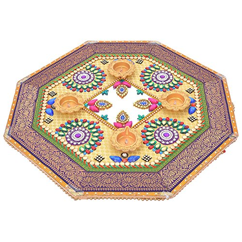 Rangoli Twisha Wooden Rangoli With 4 Diyas And LED Border Cream