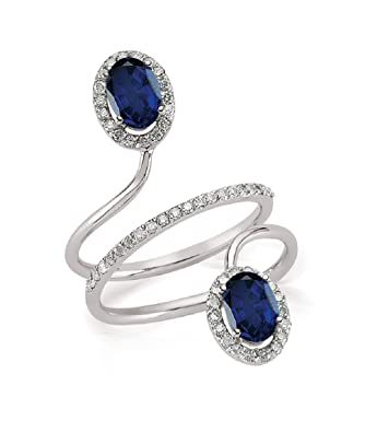2.27 Carats 18k Solid White Gold Blue Sapphire and Diamond Engagement Wedding Bridal Promise Ring Band