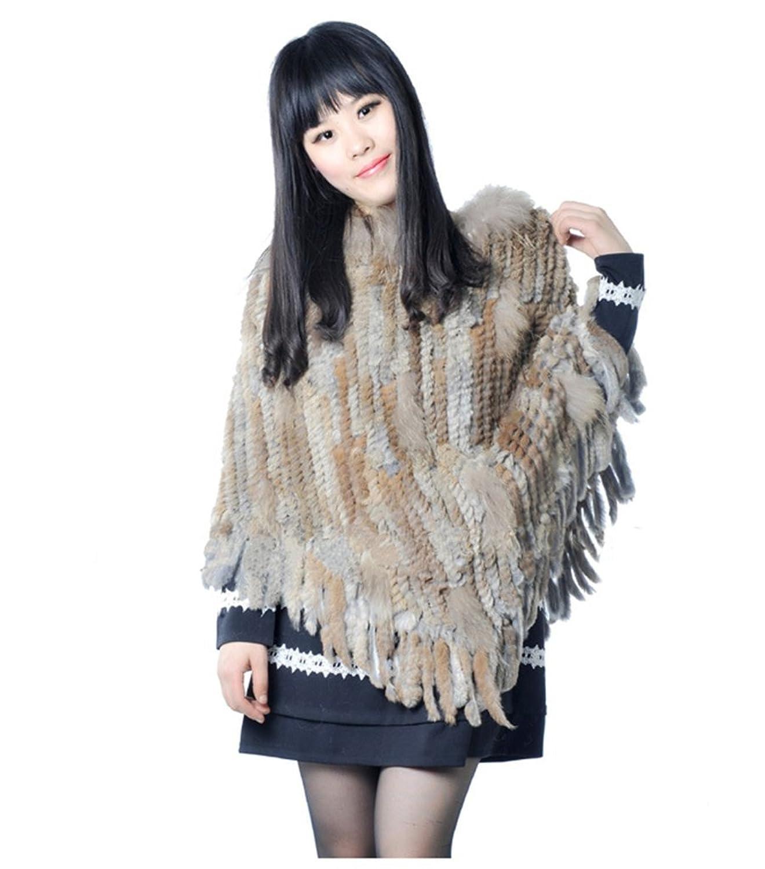 YRLOVE Mode Damen Echter Gestricktes kanichen Pelz Stahl Kap Poncho Mantel günstig bestellen