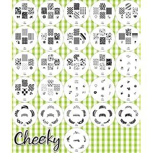 Nouvelle collection 2012 Stamping Nail Art Kit / Set d'accessoires pour manucure / pedicure pour déco d'ongles par Cheeky: Eventail de 26 plaques d'images pour un total de 160 pochoirs. Rapport prix / quantité imbattable!