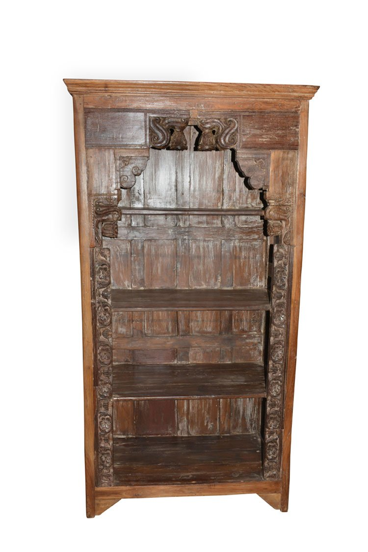 Antique Traditional Hand Carved Indian Book Case Bookshelf Arched Frame Wood 0