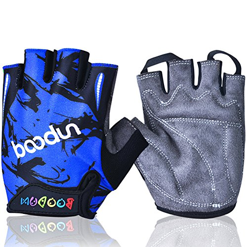 Mifulgoo Boy Girl Child Children Kid Lycra Padded Half Finger Fingerless Short Gloves Mitt Mitten for Cycling MTB Exercise Skate Skateboard Roller Skating (Blue, L)