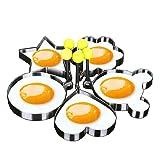 Makidar 5PCS Fried Egg Mold Egg Ring Egg shaper SUS304 Stainless Steel Pancake Mold Kitchen Tool Pancake Rings (Color: Silver)