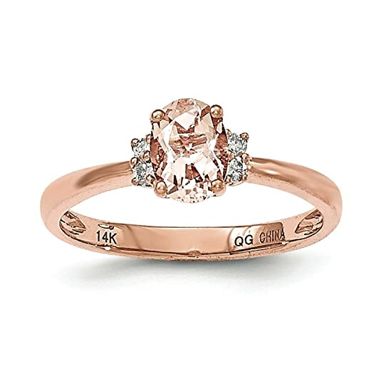 14ct Rose Gold Oval Morganite and Diamond Ring