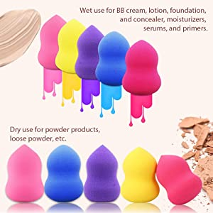 BEAKEY 5 Pcs Makeup Sponge & Pocket Makeup Mirror, Multi-Colored Foundation Blending Sponges Gourd-Shaped, for Applying Liquid Foundation, Cream, Po