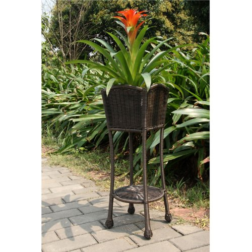 Wicker Lane ORI001-A Espresso Wicker Patio Furniture Planter Stand image