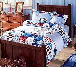Auvoau Children duvet cover set Kids Bedding Set Organic Cotton 4-piece Kids Duvet Cover Sets (Full, 4)