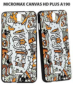 Jkobi(TM) Exclusive Rubberised Back Case Cover For MICROMAX CANVAS HD PLUS A190-Funny World