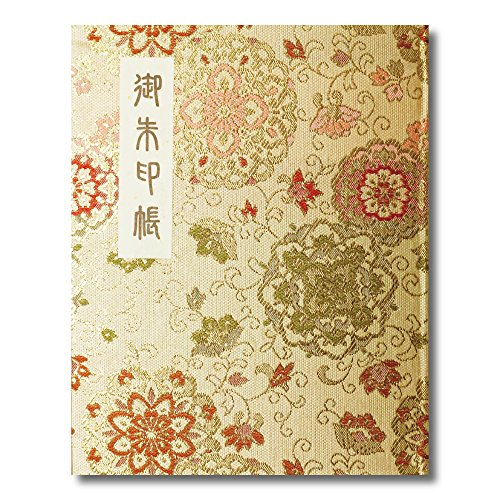 御朱印帳 60ページ ブック式 ビニールカバー付 華紋唐草 金色