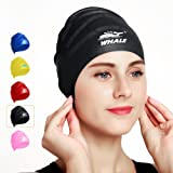 Swimming Cap For Long Hair,Waterproof Silicone Swim Cap for Women Men Kids Girls Child for Dreadlocks&Short Hair Keeps Hair Clean Ear Dry with Ear protection for Swimming (Color: Black)