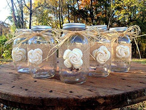 Rustic Mason Jars With Sola Flower