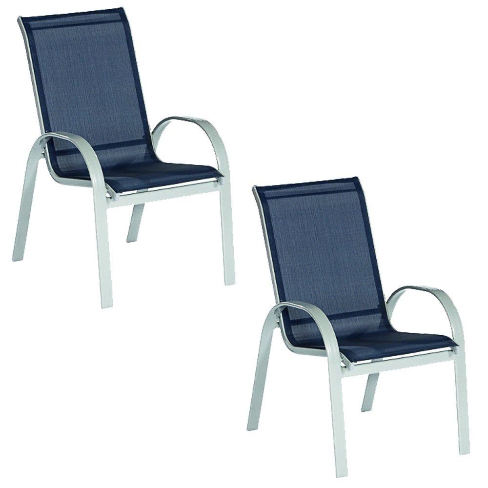 Sessel Gartenstuhl Stapelsessel Amalfi 2-er Set mit Textilgewebe Bespannung in marineblau