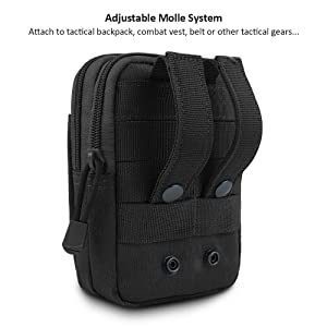 FUNANASUN Tactical Molle Pouch EDC Men Belt Waist Bag Utility Gadget Gear Tool Organizer Pocket with Cell Phone Holster Holder for for iPhone 6s/7/X Samsung S8 Pixel Moto Z Force Play (Black-1 Pack) (Color: Black A- 1 Pack)