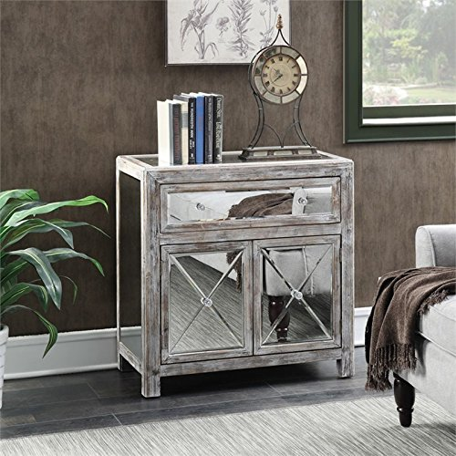 Convenience Concepts Gold Coast Collection Vineyard Mirrored Cabinet, Weathered White/Mirror (Mirrored Furniture Console compare prices)