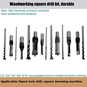 SaferCCTV 3/4 Mortising Chisel Bit Woodworking Square Hole Drill Bits Woodworker Power Tools for Construction Installation Renovation Decoration Industry (Tamaño: 3/4)