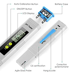 Digital PH Meter, PH Meter 0.01 PH High Accuracy Water Quality Tester with 0-14 PH Measurement Range (Color: Blue-2)