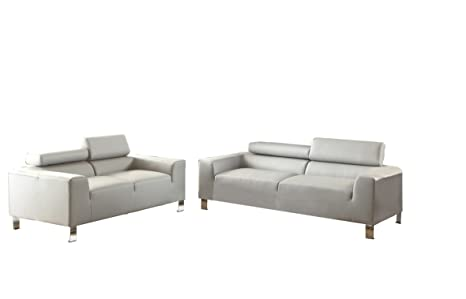 Poundex Bobkona Ellis Bonded Leather 2 Piece Sofa and Loveseat Set, Grey