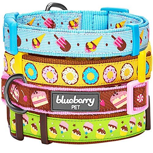 Blueberry Pet Collier pour chien 1,5cm Petit Modèle S, Donut avec glaçage, Charmant charisme, Collier Chien de créateur