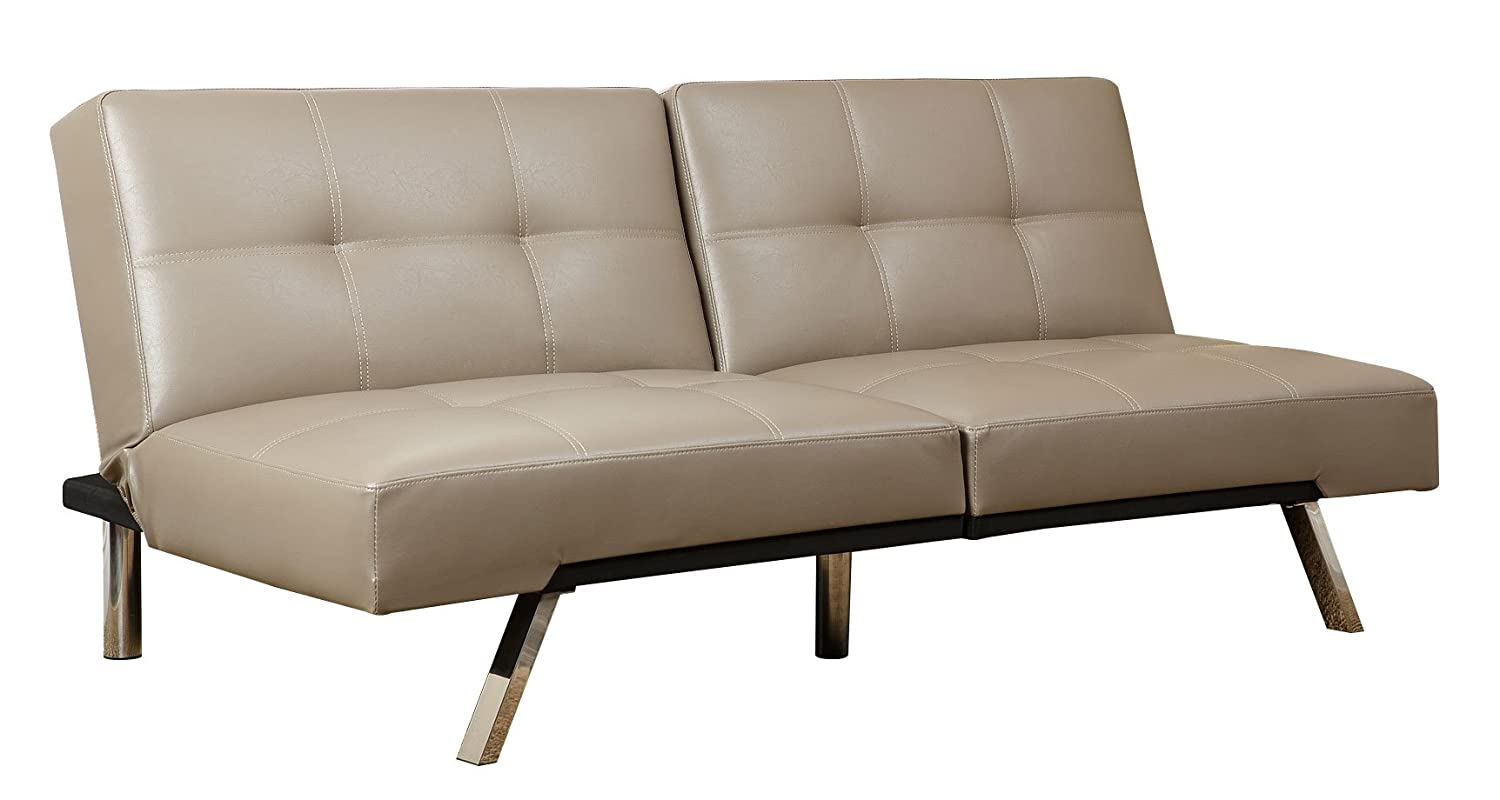 Abbyson Living Aspen Leather Convertible Sofa - Taupe