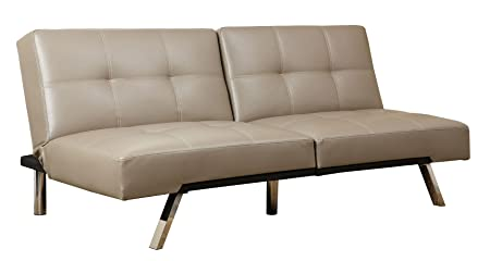 Abbyson Living Aspen Leather Convertible Sofa, Taupe