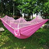 JOY-US Outdoor Mosquito Net Hammock Widened Parachute Cloth Parent-child Double Hammock (pink)