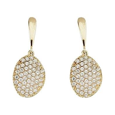 18k gold pendant leaf long closure pressure zircons [5816]