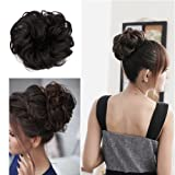 Sexybaby Synthetic Hair Bun Extension Colorful Elegant Chignon Hair Scrunchies Extensions Updo Curly Wavy Donut Hair Pony Tail Hairpiece Black Brown Blonde (1pcs, Dark Brown)