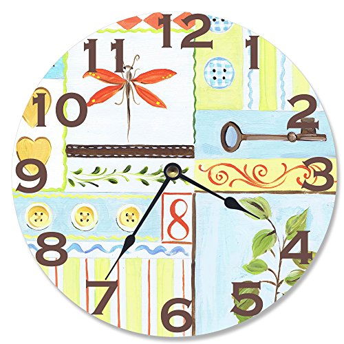 The Kids Room by Stupell Buttons, Bugs and Botany Wall Clock