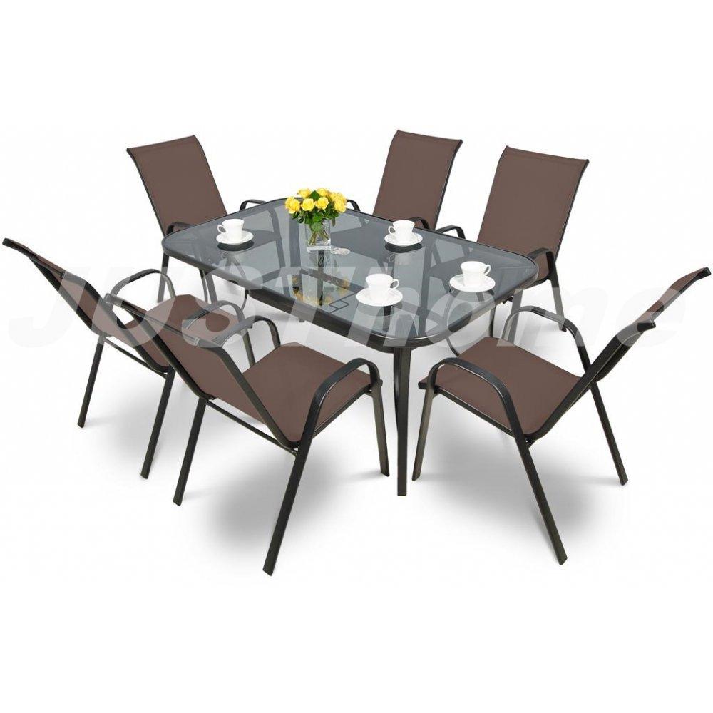 JUSThome Gartenmöbel Sitzgruppe Gartengarnitur Bologna 150_6 6xStuhl + Glastisch Taupe jetzt kaufen