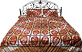 Exotic India Desert-Dust Batik Shaded Bedspread from Pilkhuwa with Printed Flowers - Pure Cotton Can