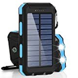Solar Chargers 30,000mAh, Dualpow Portable Dual USB Solar Battery Charger External Battery Pack Phone Charger Power Bank with Flashlight for Smartphones Tablet Camera (Baby Blue) (Color: Baby Blue B)