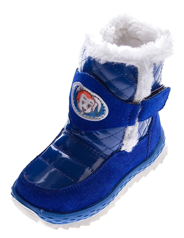 Stiefel Kinder Fellrand Klettverschluss Winter Schuhe Warmfutter Blau Lila Glanz Jungen u Mädchen