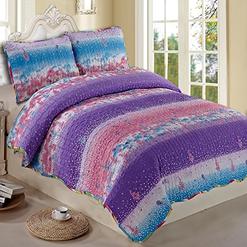 NTBAY 3 Pieces Purple and Pink Printed Queen Size 8686 inches Quilt Set (Queen,Purple and Pink) (Queen Quilt Set Purple compare prices)