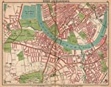 LONDON SW: Putney Wandsworth Fulham Barnes Parson's Green. Tram routes, 1913 map