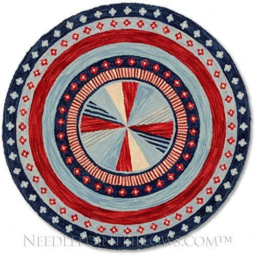 Handmade 100% Wool Red White Blue American Flag Nautical Style Geometric Folk Art Hooked Area Rug. 5' round.