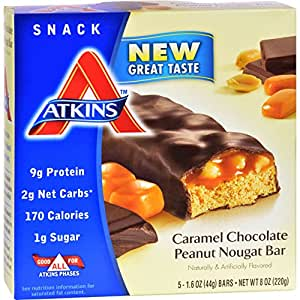 Atkins Advantage, Caramel Chocolate Peanut Nougat Bar, 5 Bars, 1.6 oz (44 g) Each 1.7 x 5.2 x 5.4 inches