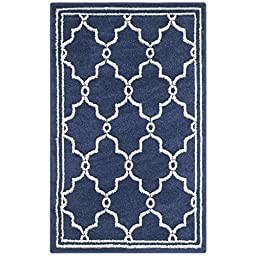 Safavieh Amherst Collection AMT414P Navy and Beige Indoor/ Outdoor Area Rug, 2 feet 6 inches by 4 feet (2\'6\