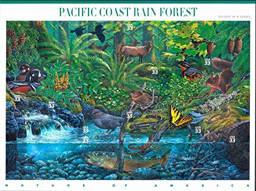 Pacific Coast Rain Forest (Nature of America), Full Sheet of 10 x 33-Cent Postage Stamps, USA 2000, Scott 3378
