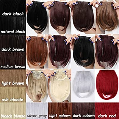 "Long Bangs 8""(20cm) Clip-in Hair Extensions 2clips Bang Full Fringe Short Straight Hairpiece Accessories"