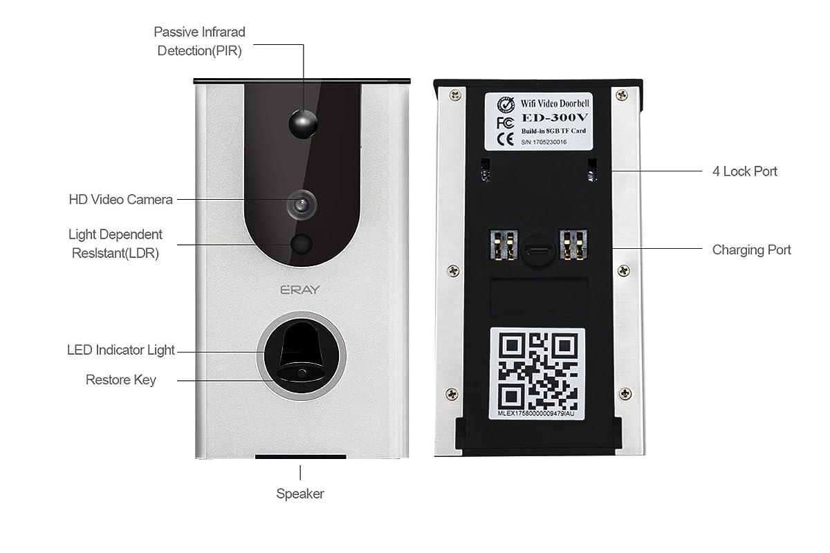 ERAY WiFi Wireless Enabled Video Doorbell Smart Home Security Camera IP65 Waterproof, iOS & Android APP, IR Night Vision, Cloud Storage, Built-in 8G TF Card, Support Tamper Alarm (Video Doorbell)