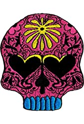 Sugar Skull - Pink with Heart Eyes & Yellow Flower - Embroidered Sew or Iron on Patch