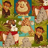 Jungle Babies Patchwork Animals Green Fabric By The Yard