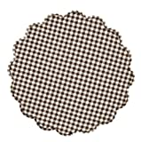 Round Tablemat Brown Check Brownstone Scalloped Cotton Quilted Reversible 20 Inches