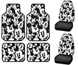 Disney Mickey Mouse Classic Expressions Faces Front & Rear Car Truck SUV Seat PlastiClear Floor Mats & Universal-fit Bucket Seat Covers - 6PC