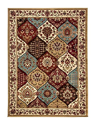 Ivory Traditional Rug, 5-Feet 3-Inch x 7-Feet 3-Inch Persian Panel Colorful Carpet