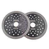 DT-DIATOOL Narrow Turbo Diamond Blade with Multi Hole for Granite Marble Block Diameter 5 Inch Pack of 2 (Color: Black, Tamaño: 5 inch)