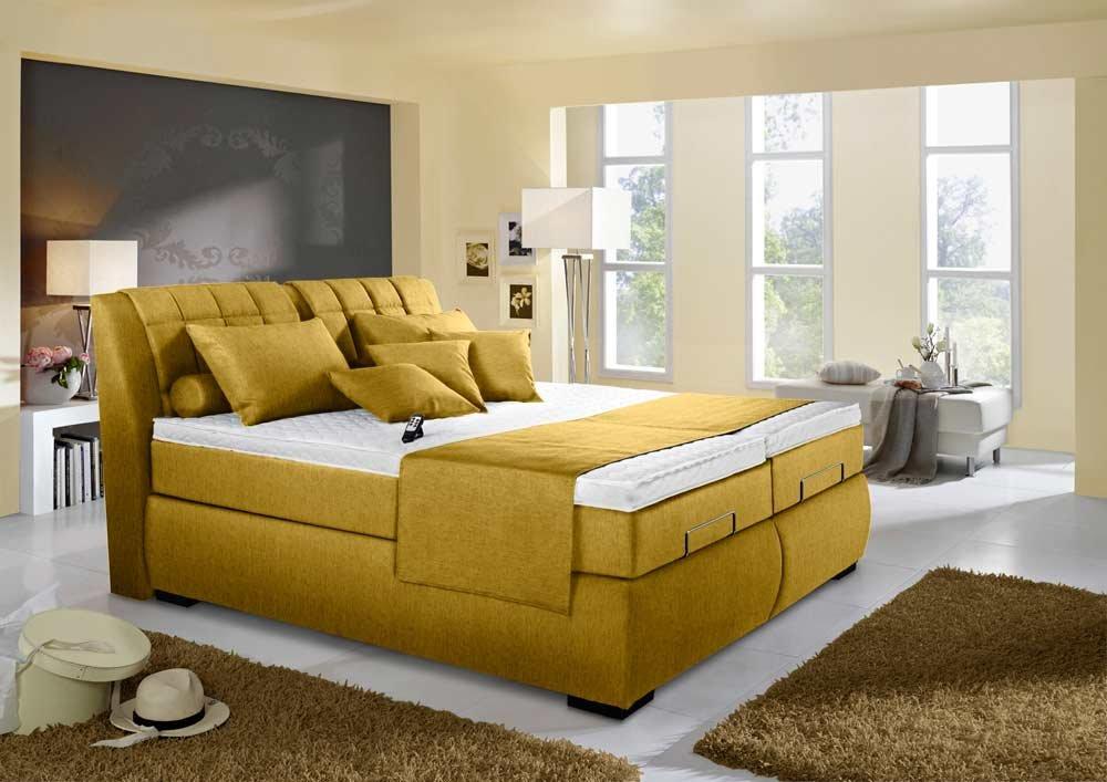 Boxspringbett in gelb, elektrisch, 2 Tonnentaschenfederkernmatratzen auf Taschenfederkern, 2 Gelschaumtopper u. Bettkasten, Maße: 180 x 200 cm online bestellen