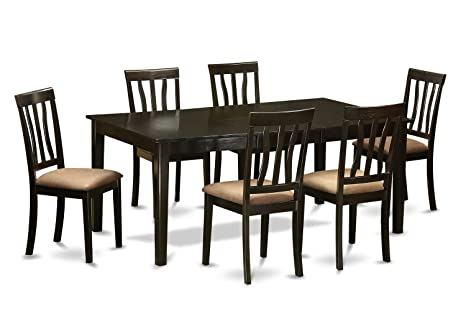 East West Furniture HEAN7-CAP-C 7-Piece Dining Table Set, Cappuccino Finish