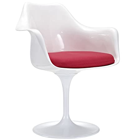 Swivel Armchair in Gloss White Colors (Red)